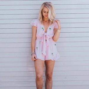 BUDDY LOVE Palm Tree Pink Romper
